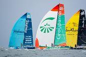 Telefonica, Groupama, And Abu Dhabi Ocean Racing Downwind