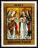 Postage stamp Hungary 1973 Angels Playing Violin and Lute by Ano