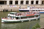 Sightseeing Boats Take Tourists Down Chicago River