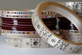 foto of dulhan  - A handful of Colorful Bridal Ornament Bangles