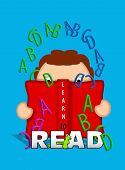 image of bookworm  - Illustration shows child holding an open book and looking through letters of the alphabet that float off the pages of the book - JPG