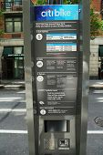 Citi bike station kiosk terminal ready for business in New York