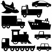Set 1 of different transport silhouettes