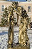 Irkutsk, Russia - Nov.18,2012: The sculpture  Mother and Daughter  in Nov.18,2012 in Irkutsk, Russia