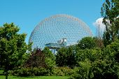 picture of geodesic  - The geodesic dome called Biosphere is a museum in Montreal dedicated to water and the environment - JPG