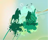 Cyan Daub With Horse Riders