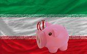 Reich Sparschwein und nationalen Flagge des Iran