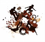 Abstract Blot Background With Jumping Skateboarders