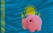 Piggy Rich Bank And  National Flag Of Kazakhstan