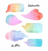 image of six pack  - Pack of six watercolor colorful speech bubbles on the white paper - JPG
