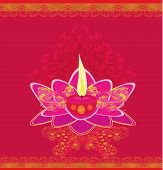 image of wesak day  - Lotus Oil Lamp abstract card  - JPG