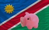 Reich Sparschwein und Nationalflagge Namibias