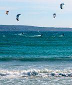 Kitesurfers in Can Pastilla, Majorca.