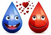 Wassertropfen und Tropfen Blut Liebe