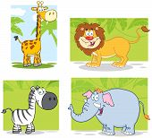 foto of panther  - Jungle Animals Cartoon Characters With Background - JPG