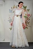 NEW YORK - APRIL 22: A Model poses for Claire Pettibone bridal presentation