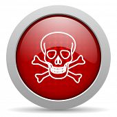 skull red circle web glossy icon