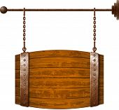stock photo of food chain  - Barrel shaped wooden signboard on rusty chains - JPG