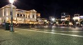 stock photo of sparta  - A night view of the main square of the modern city of Sparta in Greece - JPG