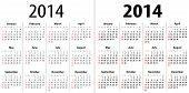 Calendar Grid For 2014. Sundays First