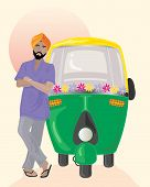 stock photo of rickshaw  - an illustration of a sikh taxi driver with orange turban standing next to a decorated auto rickshaw under an indian sun - JPG