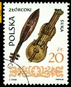 Vintage Postage Stamp.  Wooden  Fiddles .