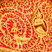 pic of chan  - Golden budha on red background from Vientiane Wieng Chan Laos - JPG