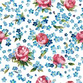Stylish beautiful ornamental vector illustration texture with forget-me-not