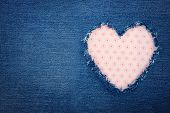 Blue Denim Jeans With Pink Heart