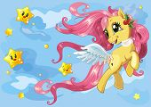 foto of pony  - Beautiful little pony running on clouds - JPG