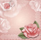 Vintage greeting cards with rose.