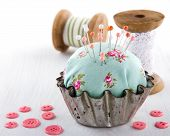 Pincushion In An Old Metal Cupcake