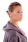 Attractive Young Woman Posing With Hood Jacket