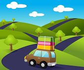 stock photo of road trip  - Family road trip traveling across the hill - JPG