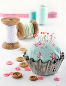 Floral Pincushion In An Old Metal Cupcake