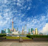 Shanghai bund landmark skyline poster