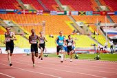 MOSCOW - JUN 11: Athletes run on track of Grand Sports Arena of Luzhniki Olympic Complex at Internat
