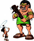Golias e David cartoon