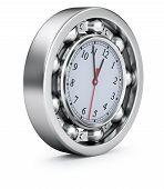 foto of ball bearing  - Time concept with the clock in the ball bearing - JPG