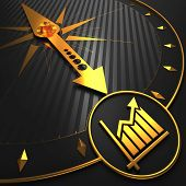 Golden Growth Chart Icon on Black Compass.