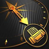Golden Printer Icon on Black Compass.