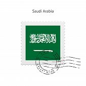pic of saudi arabia  - Saudi Arabia Flag Postage Stamp on white background - JPG