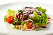 picture of rib eye steak  - Rib Eye Steak with  Vegetables - JPG