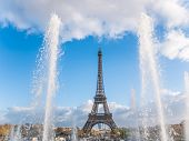 The Eiffel tower from the Trocadero in Paris France