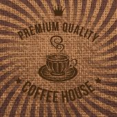 Vector Label For Coffee On Sacking