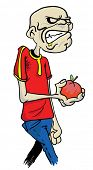 cartoon illustration of a zombie holding an apple