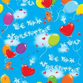 Seamless Pattern With Colorful Balloons, Teddy Bears And Texts Be My Valentine, I Love You On Sky Bl