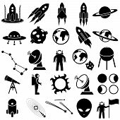 picture of meteor  - Space icon set vector collection on white background - JPG