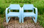 Blue Wooden Lawn Chairs