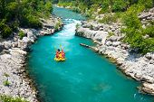 GREEN CANYON, TURKEY - JULY 10: White water rafting on the rapids of river Manavgat onAlanya, Turkey
